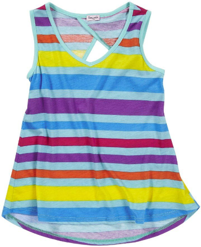 This  Splendid Tulip Back HiLo Tank  is a cute candy apple V-neck tank with candy colored stripes and a keyhole back.