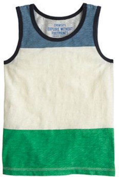 This  J.Crew BOYS' TANK TOP IN COLORBLOCK  is basically J.Crews boys' favorite cotton tee with the sleeves snipped off  to keep your little dude cool and comfortable when it's unbearably hot out.