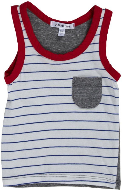 This  Joah Love Danny Tank  is hip and sporty with blue and white striped front & solid gray back (I just ordered my son Mario this one, it is so cute!).