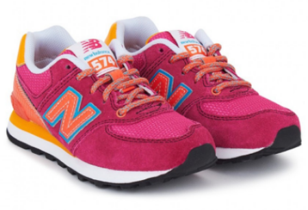These  New Balance Carnival Lace Trainers  are in a bright combination of pink and sunshine orange, and are sure to become your little princesses favorite casual shoes.