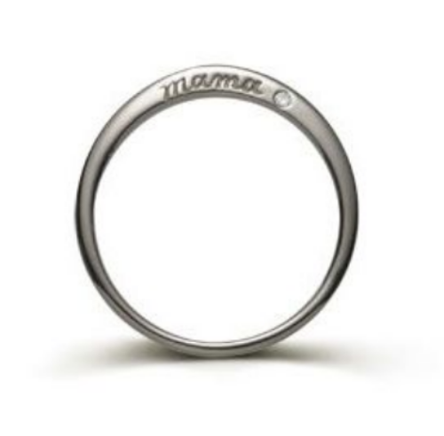 "This  Nora Kogan ""Mama"" ring  is shown above in sterling silver with one diamond next to the engraving (my husband gave me this ring for Valentine's Day this year... and I absolutely LOVE IT :-). The ring is also available in 14k and 18k white gold."