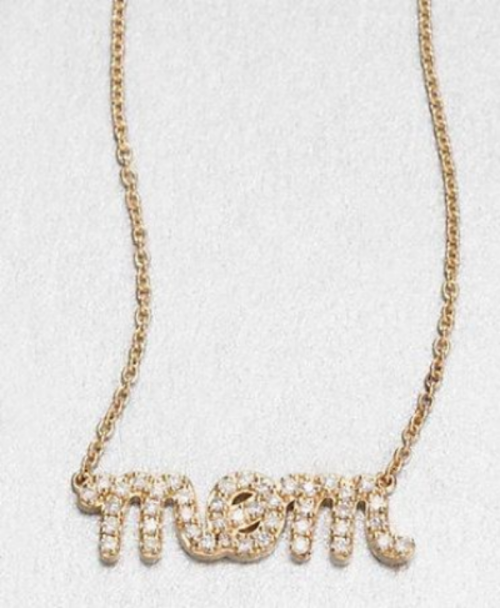 "This  Sydney Evan Diamond and 14K Yellow Gold ""Mom"" Necklace  is the creme de la creme ""mom"" necklace. Why spell mom's name out in lights when you can spell it out in diamonds? It is a dazzling necklace!"