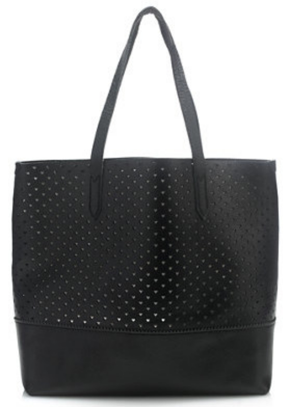 "I am obsessed with this  J.Crew DOWNING TOTE IN HEART PERFORATED LEATHER  right now because I love hearts, and as a mom I always need a tote to haul around all of mine and my families ""stuff"". And this tote is roomy and easy in soft leather that is perforated all over with tiny hearts."