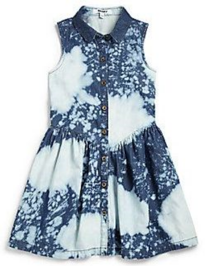 This  DKNY Tie-Dye Denim Shirtdress  is a soft, button-front Shirtdress in tie-dye denim. It is the perfect Shirtdress for your little one to showcase some of her favorite accessories.