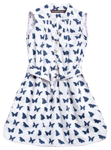 This Morgan & Milo Faye Butterfly Shirt Dress - Navy/White ($56.00) from Giggle is a chic little Shirtdress from Morgan & Milo that is the perfect summer wardrobe staple, with its fun butterfly print, easy-breezy look, and belted waist.  Your little girl will skip in style in this Shirtdress.