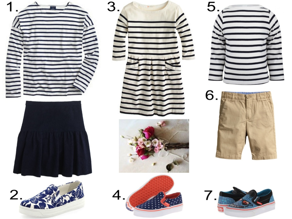 "FRENCH-SAILOR STRIPED T-SHIRT… ""LA MARINIÈRE""  1. J.Crew Saint James® for slouchy tee $90.00 & J.Crew MATELASSÉ DROP-WAIST SKIRT $79.50   2. Prada Linea Rossa Floral-Printed Slip-On Sneaker from Neiman Marcus $490.00   3. J.Crew GIRLS' STRIPE POCKET DRESS $43.99   4.  Vans Kids Classic Slip-On (Little Kid/Big Kid) from Zappos $33.99   5. Petit Bateau Classic Breton Tee from AlexandAlexa $41.00   6. H&M Chino Shorts $9.95   7. Vans Kids Classic Slip-On (Little Kid/Big Kid) from Zappos $33.99"