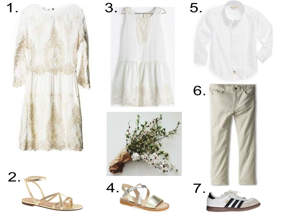 White & Ecru Lace Dresses & Classic White Shirt... 1. Dolce Vita - Valentina Lace Dress $275.00   2. J.Crew PILAR SANDALS $98.00   3. Zara FRILLED DRESS $42.90   4. Elephantito Colorblock Sandal (Baby, Walker, Toddler & Little Kid) from Nordstrom $58.95-$69.95   5. Appaman 'Standard' Dress Shirt (Toddler Boys) from Nordstrom $52.00  6. Appaman Kids Super Soft Skinny Twill Pant (Toddler/Little Kids/Big Kids) from Zappos $46.00   7. KIDS' ADIDAS® WHITE SAMBA® SNEAKERS from J.Crew $50.00