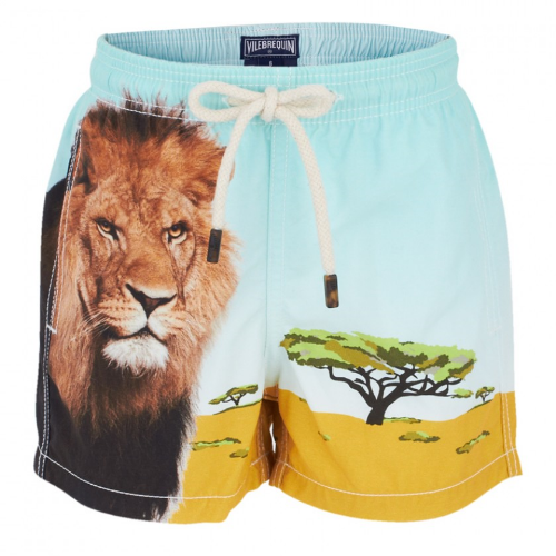 These Vilebrequin Lion Inkjet Swim Shorts have a desert lion print on them. This pair of Photo Real Jungle Animal Swim trunks will ensure that your little boy is stylish whether he's at the beach, seaside or pool.