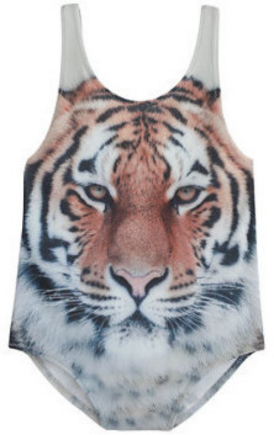 This Girls'' POPUPSHOP® Tiger Swimsuit is from the Copenhagen-based brand Popupshop. This swimsuit is made for little animal lovers with wild, graphic Photo Real Tiger print.