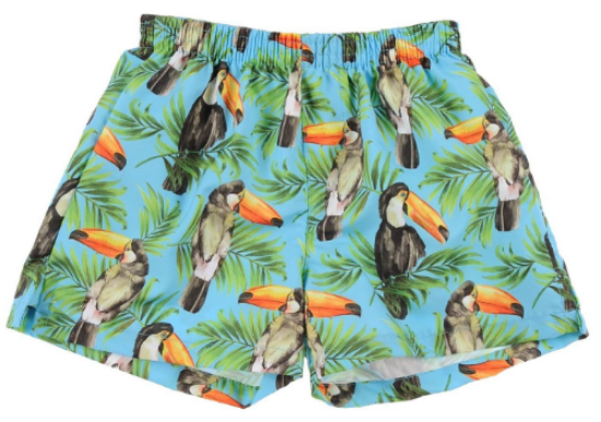 These SELINI ACTION Swimming Trunks are made out of techno fabric with logo detail, and have a Photo Real multicolor toucan pattern,