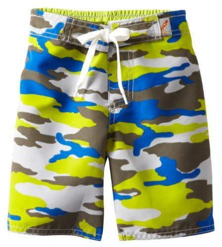 These  Charlie Rocket Camo Swim Shorts  are a standout with a fun Lime and Bright Blue Camouflage Print. These are sure to become your little boys favourite Swim Trunks.