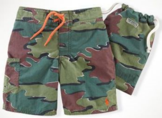 These  Ralph Lauren Tulum Camo Swim Trunks  are designed with a rugged Camouflage Print and Ralph Lauren signature pony embroidery.