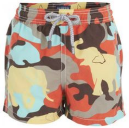 These  Vilebrequin Elephant Camouflage Shorts  combine a dynamic print with practical design. With an elephant Camouflage Print, these Swim Shorts encapsulate Vilbrequin's bold aesthetic