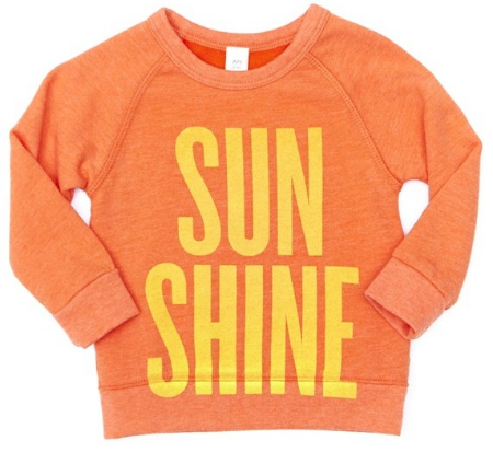 This Peek 'Sunshine' Sweatshirt (Toddler Girls, Little Girls & Big Girls) ($48.00) also available in Baby Girls ($38.00) from Nordstrom has a vivid Statement Graphic with plenty of seasonal charm on a cozy, fleece-lined Sweatshirt.