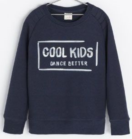"This Zara SWEATSHIRT WITH TEXT ($25.90) makes the Statement ""Cool Kids Dance Better"".  It is a Cool Statement Graphic Sweatshirt."