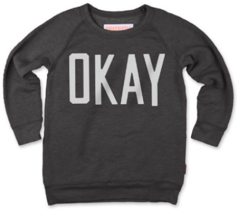 This PREFRESH OKAY CREW ($58.00) is their famous Crew Sweatshirt that is hand made and washed to last. Plus it has a super cool Statement Graphic plastered across the front.  This is a custom garment, hand made in the USA.