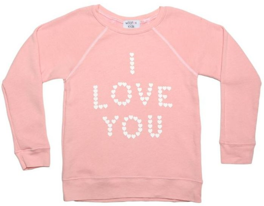 "This Wildfox KIDS LITTLE HEART SPELL KIM'S SWEATER ($70.00) casts a sweet spell to fall in love. The Kids Little Heart Spell Kim's Sweatshirt makes a Statement by saying ""I love you"" in tiny hearts."
