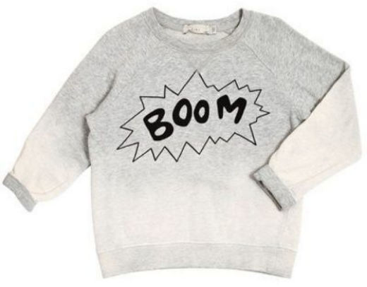 This Stella McCartney BILLY SWEATSHIRT ($90.00) is a soft organic fleece Sweatshirt in dip dye grey tone with a 'BOOM' Statement Graphic on the front and back.  It is also available in a dip dye blue tone color.