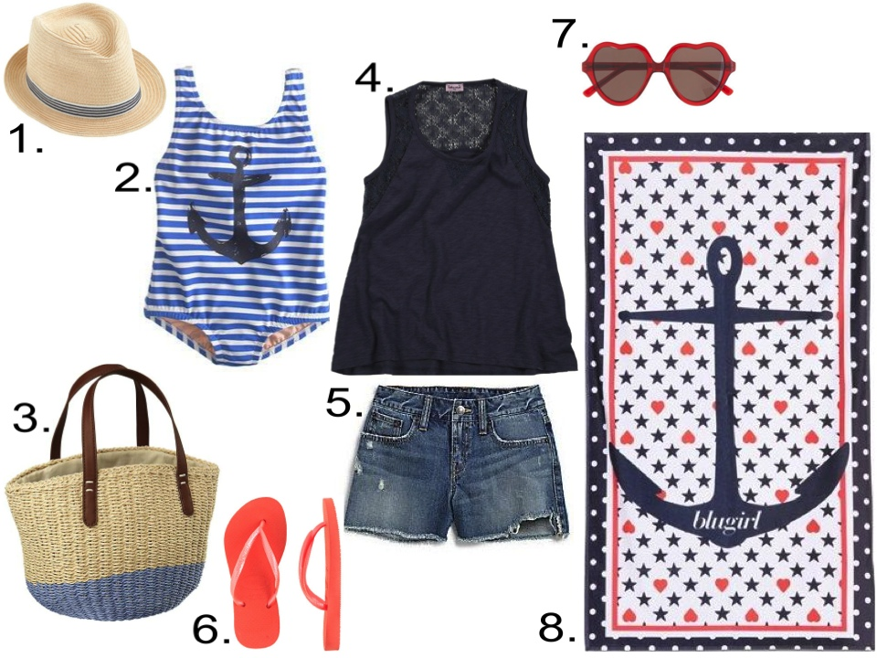 Kicking off Summer in Style... Girls... 1. J.Crew KIDS' STRIPE BAND TRILBY HAT $29.50    2. J.Crew GIRLS' PAINTED ANCHOR STRIPE TANK $58.00 (25% off with code PACKME) 3. baby GAP Colorblock straw tote $24.95 4. Splendid Lace + Slub Tank Top Tunic - Cadet Blue $34.79 from diapers.com  5. Ralph Lauren Girl's Cutoff Shorts $18.37 from saksfifthavenue.com  6. KIDS' HAVAIANAS® SLIM FLIP-FLOPS $18.00 from jcrew.com 7. GIRLS' SELIMA OPTIQUE® FOR CREWCUTS HEART SUNGLASSES $55.00 from jcrew.com 8. BLUGIRL BEACHWEAR PRINTED COTTON TERRYCLOTH BEACH TOWEL $126.00 from luisaviaroma.com