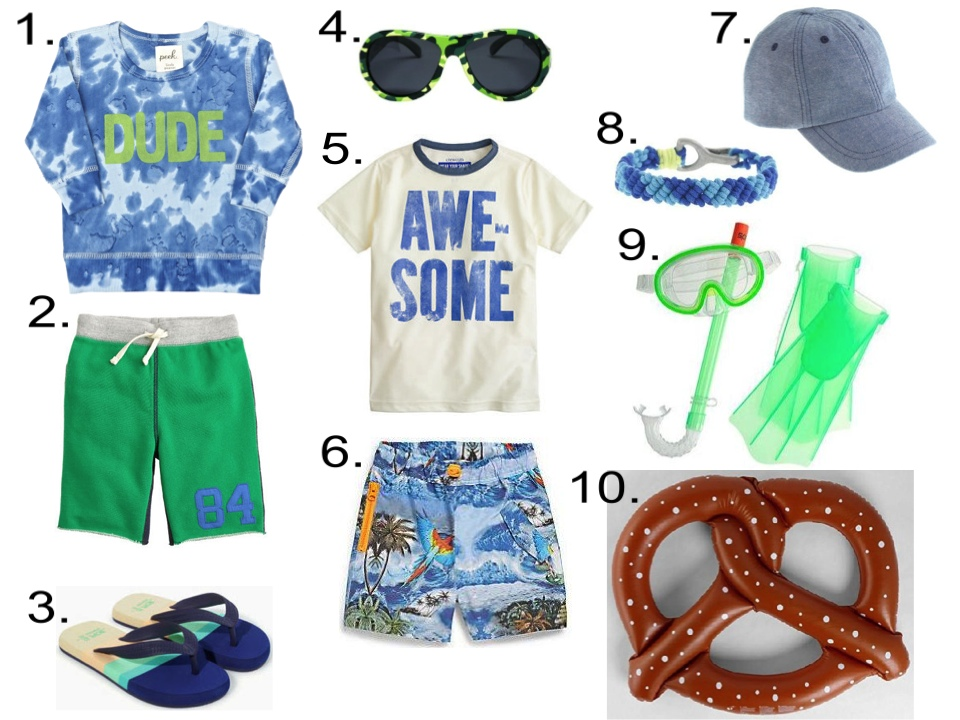 "Boy's Summer Checklist...  1.  Peek... Dude Crew Tie Dye  2.  J.Crew BOYS' COOPER SWEATSHORT IN COLORBLOCK   3.  Zara COMBINED THONG SANDAL  4.  Babiators Junior Polarized Cool Camo  5.  J.Crew BOYS' SHORT-SLEEVE AWESOME RASH GUARD   6.  STELLA MCCARTNEY Tropical Swimming Trunks   7.  J.Crew KIDS' CHAMBRAY BASEBALL CAP   8.  J.Crew KIDS' WOVEN BRACELET  9.  J.Crew KIDS' SPEEDO® AQUA QUEST SNORKEL SET   10.  Swimline 60"" 3-Person Giant Pretzel Inflatable Float"