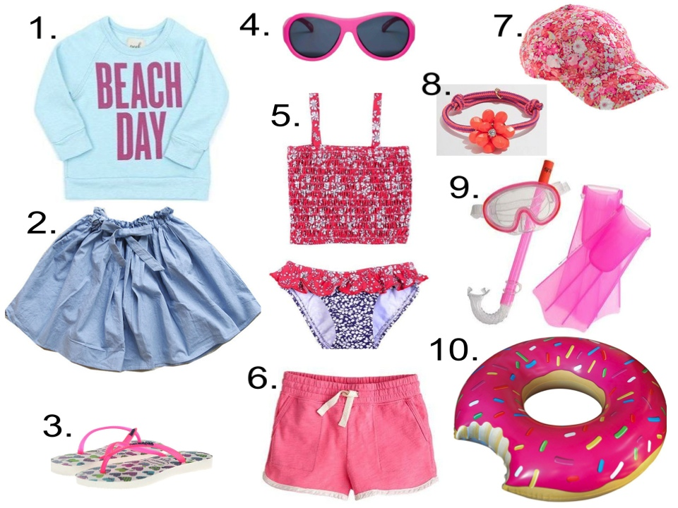 Girl's Summer Checklist...  1.  Peek 'Beach Day' Crewneck Sweatshirt  2.  jujubunnyshop Ssom Ribbon Skirt   3.  Havaianas Kids Slim Trend   4.  Babiators Original Junior Babiators Popstar  5.  Oscar de la Renta LEAF PRINT TANKINI  6.  J.Crew GIRLS' MILLIE PULL-ON SHORT   7.  J.Crew GIRLS' LIBERTY BASEBALL CAP   8.  J.Crew FACTORY GIRLS' FLORAL ROPE BRACELET   9.  J.Crew KIDS' SPEEDO® AQUA QUEST SNORKEL SET   10.  Big Mouth Toys The Munchies Pool Float