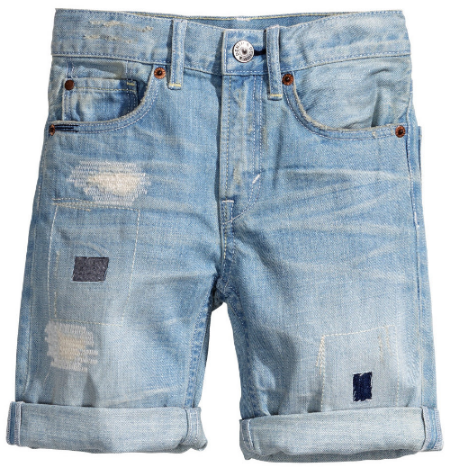 These  H&M Denim Shorts  are washed denim with heavily distressed patch details, and are very cool!
