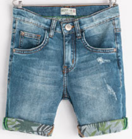 These  Zara PRINTED DENIM SHORTS  have distressing and cool palm print on the rolled-up cuff and inside the Shorts.