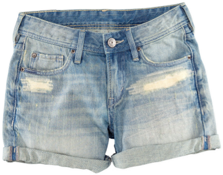 These  H&M Denim Shorts  are 5-pocket Shorts in washed denim with distressed details.
