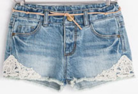 These Zara DENIM BERMUDA SHORT WITH SIDE APPLIQUÉ have worn-in wash, skinny leather tie belt, and side lace appliqué.