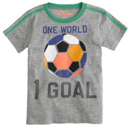This J.Crew BOYS' WORLD SOCCER TEE is in vintage jersey that's seriously soft enough for soccer practice, this is a tee to keep at the top of his drawer.