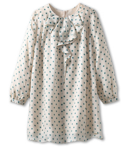 This Chloe Kids Printed Silk Dress w/ Ruffle Front Detail is a stylish statement dress with cascading Bow at the collar. It also has long sleeves with banded cuffs and polka dot print. This is the dress I wish came in my size... I LOVE this dress!