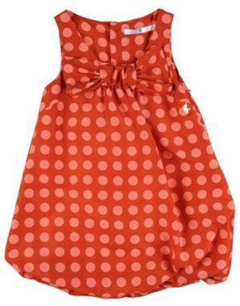 This LU LÙ Dress has a round collar, elastic bottom, polka dot print, and Bow at the front. This is a very cute Summer Bow Dress.