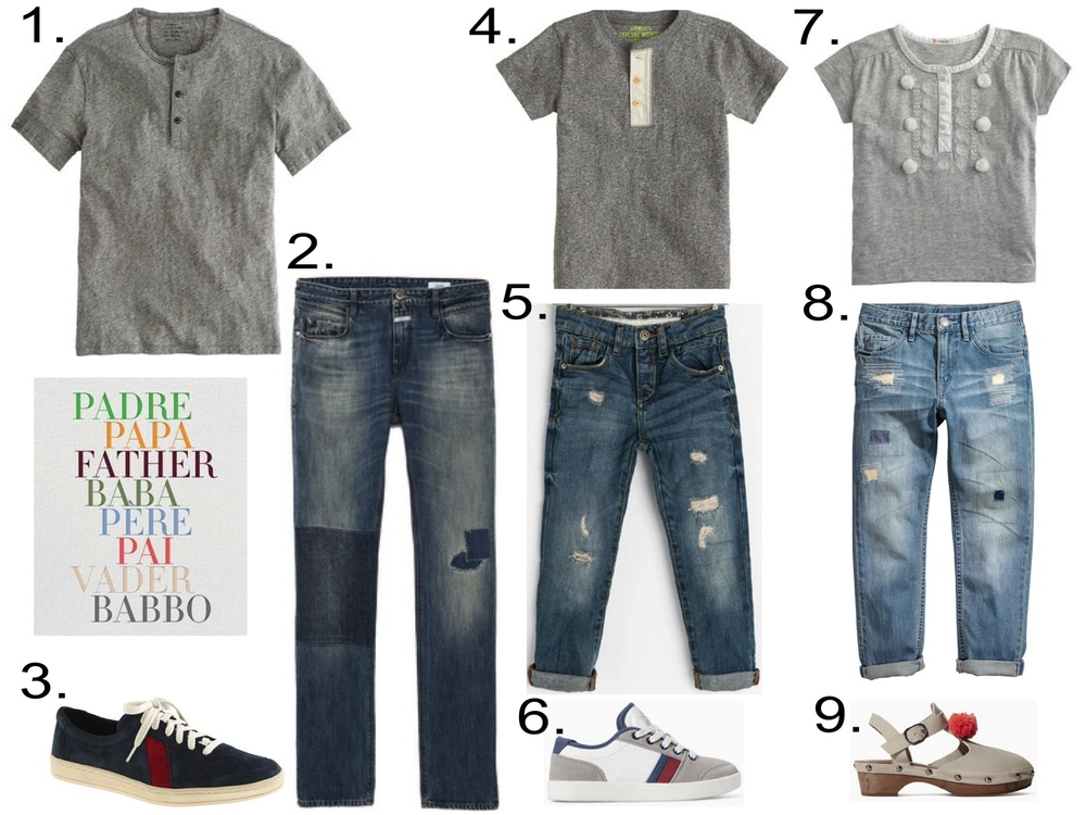 1. J.Crew Mens' SHORT-SLEEVE JERSEY HENLEY  ($48.00 + 30% off with code SHOPNOW) 2. Closed Mens' Jasper Jeans ($269) from eastdane.com  3. SAWA™ FOR J.CREW SUEDE LOW-TOP SNEAKERS ($110.00) 4.  J.Crew BOYS' SHORT-SLEEVE HEATHER HENLEY ($32.50) 5.  Zara Boys' RIPPED DENIM TROUSERS ($42.90) 6. Zara COMBINED LEATHER SNEAKER ($39.90) 7. J.Crew GIRLS' EMBROIDERED POM-POM TEE ($39.50)  8. H&M Girls' Loose-fit Jeans ($12.00) 9. Zara LEATHER AND WOOD CLOG WITH POMPOM ($59.90)
