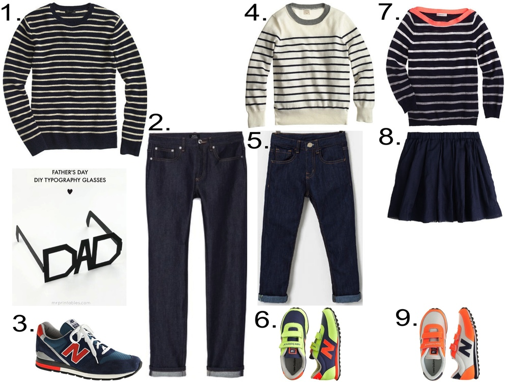 Spring Striped Sweaters 1. J.Crew Mens' LINEN-COTTON SWEATER IN NAUTICAL STRIPE ($89.50) 2. A.P.C. Mens' Standard Brut Stretch Jeans ($195.00) from eastdane.com  3. NEW BALANCE® FOR J.CREW 996 SNEAKERS ($150.00)  4. J.Crew BOYS' COTTON-CASHMERE NAUTICAL-STRIPE SWEATER ($44.99 + Extra 30% off with code SHOPNOW) 5. Zara Boys' REGULAR JEANS ($29.90) 6. KIDS' NEW BALANCE® FOR CREWCUTS KE410 VELCRO® SNEAKERS IN NEON KIWI ($50.00) 7. J.Crew GIRLS' STRIPE BOATNECK SWEATER ($59.50) 8. J.Crew GIRLS' PLEATED ORGANDY SKIRT ($49.50) 9. KIDS' NEW BALANCE® FOR CREWCUTS KE410 VELCRO® SNEAKERS IN NEON ORANGE ($50.00)