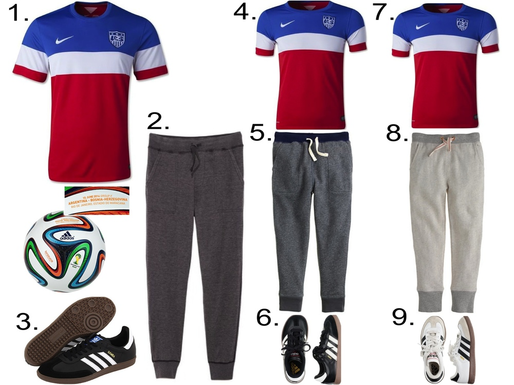 1. USA 2014 Mens' Away Soccer Jersey ($89.99) from worldsoccershop.com  2. Save Khaki Mens' Pointelle Sweatpants ($90.00) from eastdane.com  3. Adidas Originals Samba® Leather ($65.00) from zappos.com  4. USA 2014 Youth Away Soccer Jersey ($74.99) from worldsoccershop.com 5. J.Crew BOYS' SLIM SLOUCHY SWEATPANT IN CONTRAST WAISTBAND ($42.50) 6. KIDS' ADIDAS® SAMBA® SNEAKERS WITH RED STITCHED TONGUE ($50.00) from jcrew.com 7. USA 2014 Youth Away Soccer Jersey ($74.99) from worldsoccershop.com 8. J.Crew GIRLS' SLIM DRAWSTRING PANT ($39.50) 9. KIDS' ADIDAS® WHITE SAMBA® SNEAKERS ($50.00) from jcrew.com