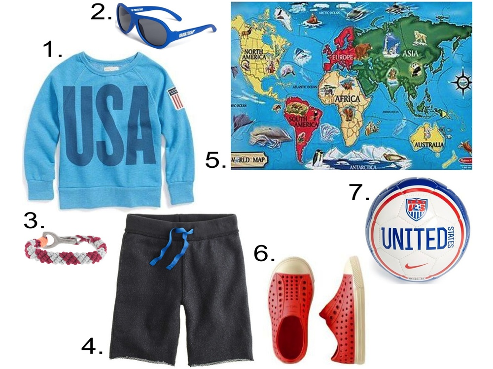 Boys Let's Play Soccer... 1. Peek 'USA' Crewneck Sweatshirt (Toddler Girls, Little Girls & Big Girls) ($23.98) from nordstrom.com 2. 'Junior Babiators' Sunglasses (Infant & Toddler) ($20.00) from nordstrom.com 3. J.Crew KIDS' WOVEN BRACELET ($14.50)  4. J.Crew BOYS' COOPER SWEATSHORT IN RUGGED TERRY ($29.50)  5. Melissa & Doug World Map Floor Puzzle (33 pc) ($13.79) from diapers.com  6. NATIVE® JEFFERSON SHOES ($34.00) from teacollection.com  7. Nike 'U.S. Skills' Small Soccer Ball ($15.00) from nordstrom.com