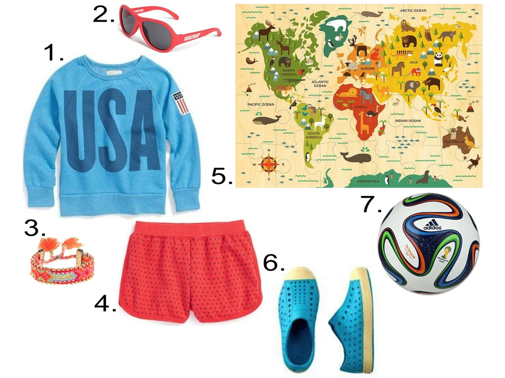Girls Let's Play Soccer... 1.  Peek 'USA' Crewneck Sweatshirt (Toddler Girls, Little Girls & Big Girls) ($23.98) from nordstrom.com  2. 'Junior Babiators' Sunglasses (Infant & Toddler) ($20.00) from nordstrom.com  3. J.Crew GIRLS' SPARKLE FRIENDSHIP BRACELET ($16.50)  4. Peek 'Mimi' Star Polka Dot Dolphin Shorts (Toddler Girls, Little Girls & Big Girls) ($34.00) from nordstrom.com 5. Petit Collage Our World Floor Puzzle ($18.00)  6. NATIVE® JEFFERSON SHOES ($34.00) from teacollection.com  7. adidas 2014 Brazuca FIFA World Cup Mini Ball ($12.99) from worldsoccershop.com
