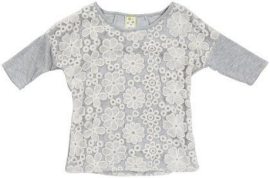 This  Kiddo Lace S/S Top    is a cute drop shoulder shape in casual grey heather with white lace overlay at the front and at the back.