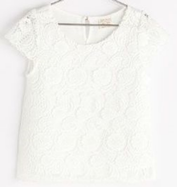 This  Zara GUIPURE LACE TOP  has girly cap sleeves and a beautiful all-over lace pattern. I love this Lace Tee!
