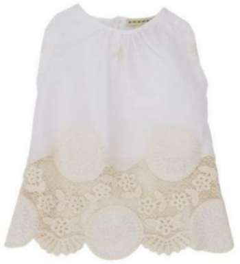 This ANTHEM OF THE ANTS Girl's Lace-Hem Sleeveless Shirt ($43.00) also available in Baby Sizes ($42.00) from barneys.com is a white cotton sleeveless shirt with cream-colored floral lace hem.  This is a beautiful Lace Tee, and I wish it came in my size!