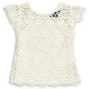 This Ralph Lauren Toddler's & Little Girl's Lace Top ($33.56) from saksfifthavenue.com is crafted from soft cotton.  It is a crocheted Lace Tee that is designed with charming flutter sleeves and comes with a cotton camisole underneath.