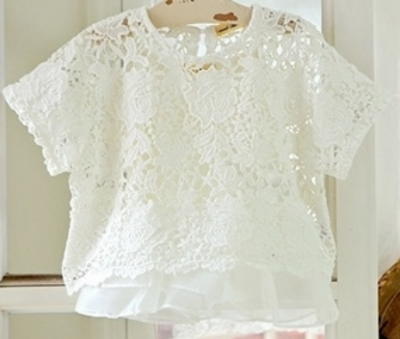 This  JujuBunnyShop Amber Misty Pullover  is available in white or navy colors. It is a cute boxy shape Lace Tee with a frilly tank underneath, your little one can wear this Lace Tee with or without the frilly tank... making it very versatile to dress up or dress down.