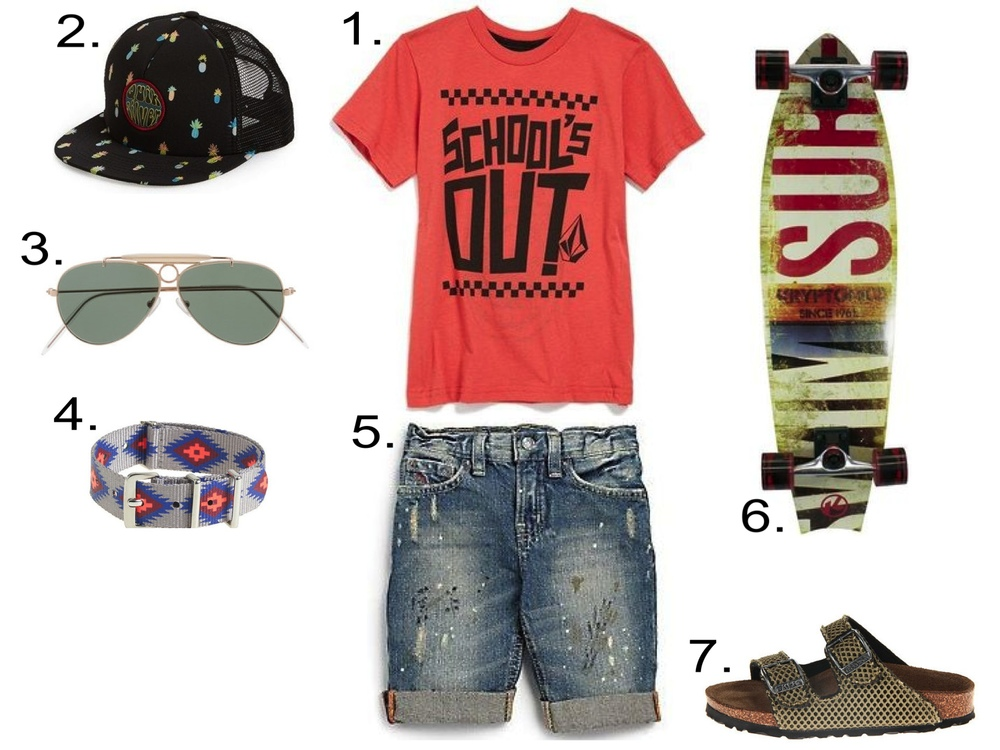 He's Adorably Cool...  1.  Volcom 'School's Out' T-Shirt   2.  Quicksilver 'Slash' Trucker Hat   3.  KIDS' SELIMA OPTIQUE® FOR CREWCUTS AVIATOR SUNGLASSES   4.  KIDS' TIMEX® INTERCHANGEABLE PATTERN WATCH STRAP   5.  Ralph Lauren Distressed Denim Shorts  6.  Kryptonics 34-in Choice Swallowtail Longboard   7.  Birkenstock Kids Santiago Birki's