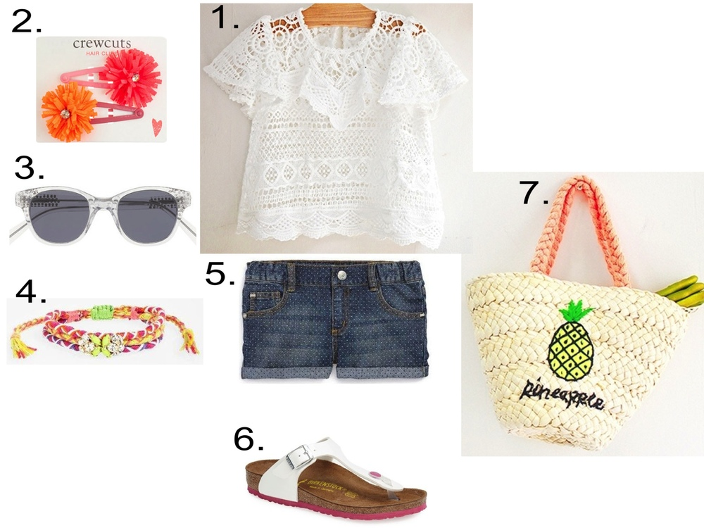 She's Simply Adorable...  1.  JujuBunnyShop Amber Etre Blouse  2.  J.Crew GIRLS' FLOWER FRINGE SNAP CLIP   3.  GIRLS' SELIMA OPTIQUE® FOR CREWCUTS SPARKLE SUNGLASSES  4.  Cara Macramé Friendship Bracelet    5.  Peek 'Harper' Denim Shorts   6.  Birkenstock 'Gizeh Birko-Flor™' Patent Thong Sandal  7.  JujuBunnyShop Amber Paini Bag