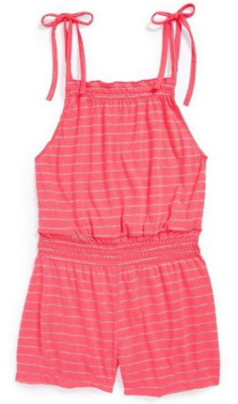 This Betsey Johnson 'Striped Active' Smocked Waist Romper (Little Girls & Big Girls) ($34.00) from nordstrom.com has the designer's signature pizzazz in a neon pink striped sassy Romper (also available in a black stripe).  It is shaped with smocking at the waist and top bodice for stretchy ease.