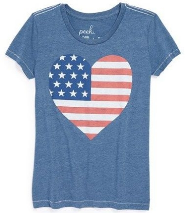This  Peek 'Love America' Tee  has a heart-shaped American flag that brightens a patriotic T-Shirt that's perfect for 4th of July celebrations.