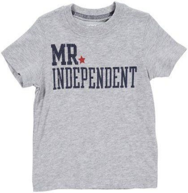This  Carter's Youth Mr. Independent Tee  is a classic grey heather T-Shirt that says it all.  I love this Statement T-shirt because my toddler is becoming more and more Independent every day!
