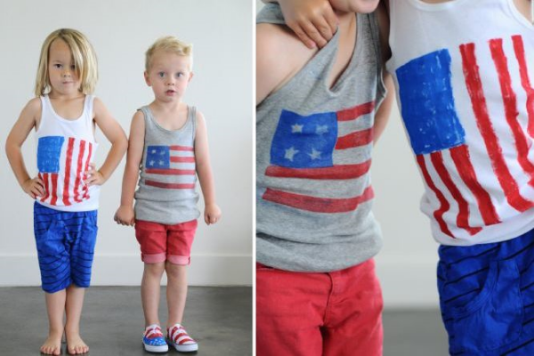 This STARS & STRIPES FOR TOPS & TOES from smallfryblog.com shows your little one's excitement and pride for Independence Day.  The website has an easy to follow tutorial with photos on how to recycle an old tee into a patriotic 4th of July T-Shirt.