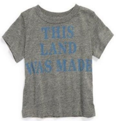 This  Peek 'This Land Was Made for You and Me' Graphic T-Shirt  has one of Woody Guthrie's most famous folk songs referenced on a soft, short-sleeve T-Shirt that's perfect for 4th of July celebrations.