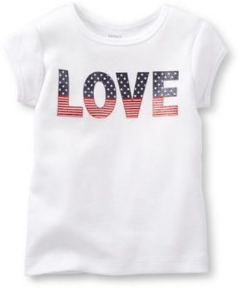 This Carter's 4th of July Tee (Baby) - Love ($6.00) from diapers.com and Little Girls ($5.99) is a T-Shirt your little one will love this 4th of July with a sparkle LOVE graphic in stars & stripes.